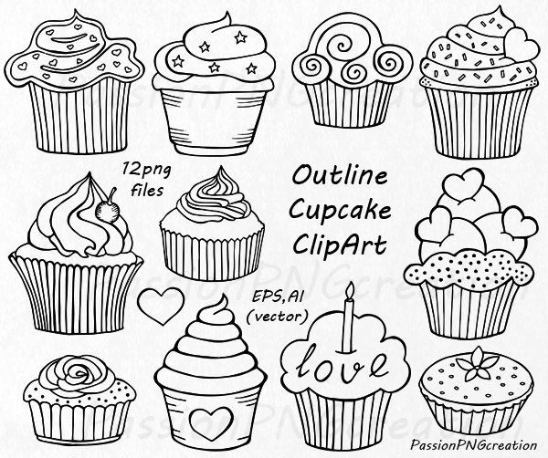 Pin on shrinky dinks. Muffin clipart doodle