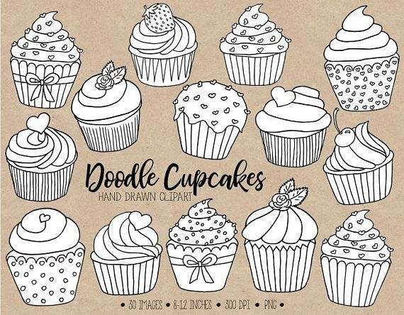 Muffin clipart doodle. The cutest cupcake and