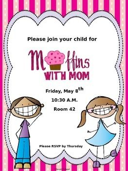 Pin on school stuff. Muffins clipart mom invitation