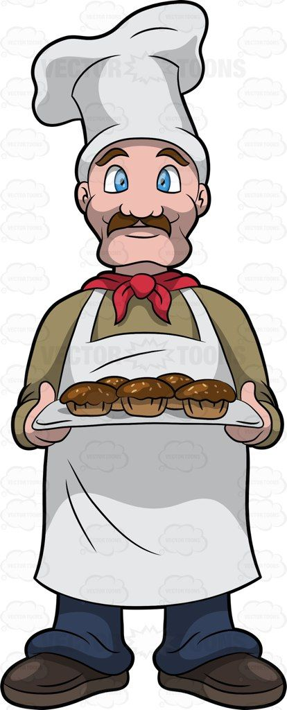 Muffin clipart muffin man. The holding a tray