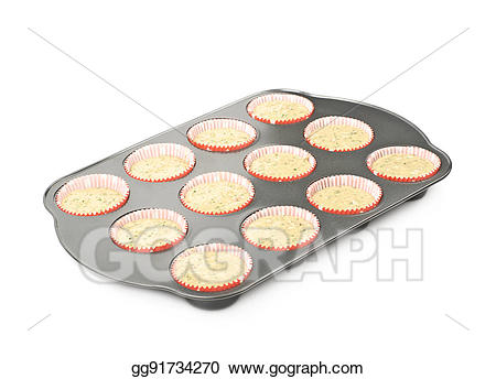 Tray isolated stock illustration. Muffin clipart muffin pan
