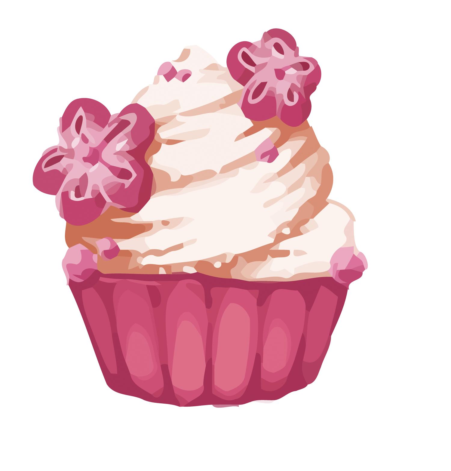 Cupcake macaron vector cherry. Muffin clipart pastry