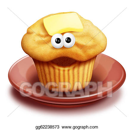 Drawing whimsical cartoon on. Muffin clipart plate muffin