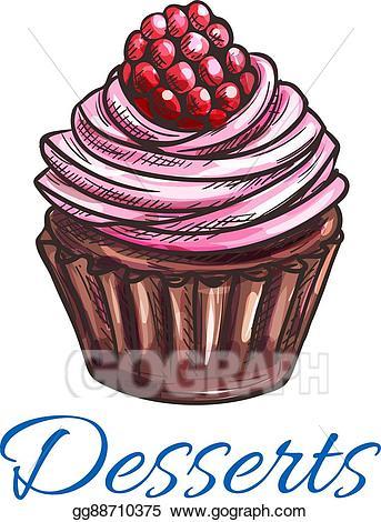 Muffin clipart sketch. Vector patisserie dessert emblem