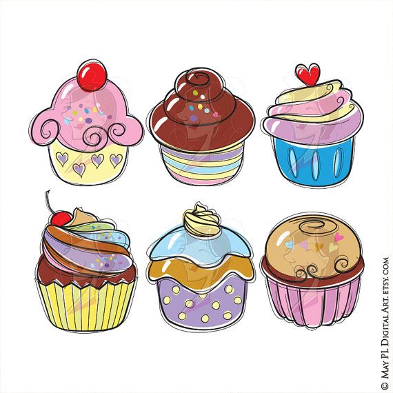 Muffin clipart whimsical cupcake. Cupcakes cute illustration by