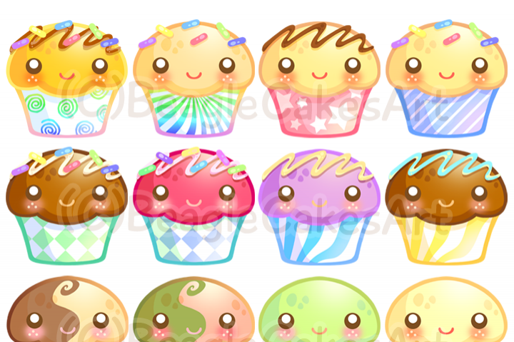 Cupcake instant download colorful. Muffins clipart
