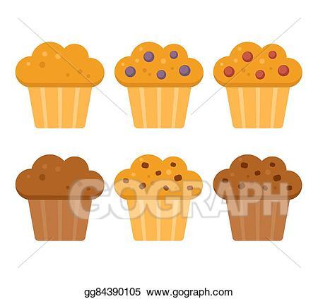 Vector stock set illustration. Muffins clipart cartoon