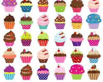 Muffins clipart colourful cupcake. Cupcakes etsy
