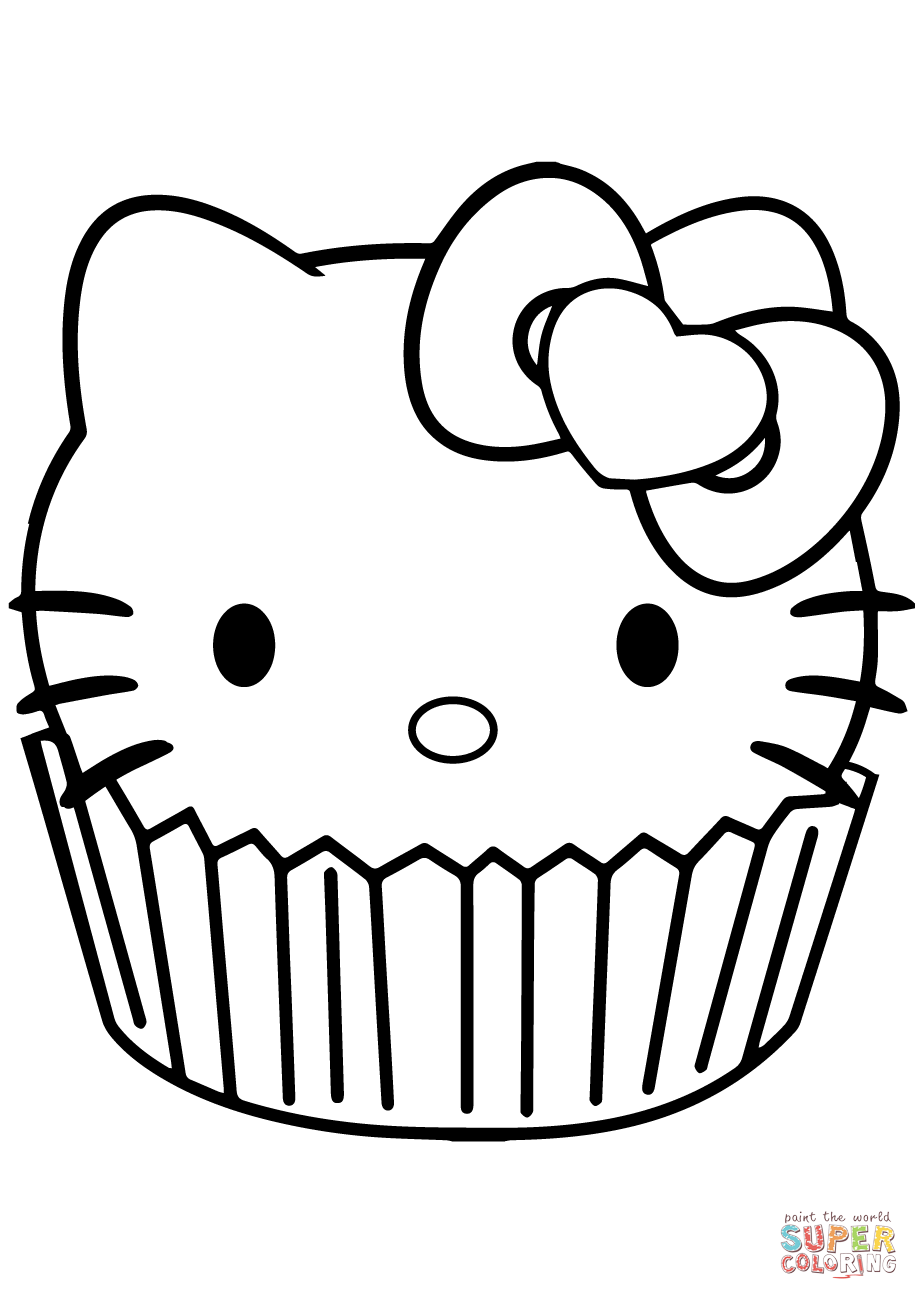 Coloring page free printable. Muffins clipart cupcake hello kitty