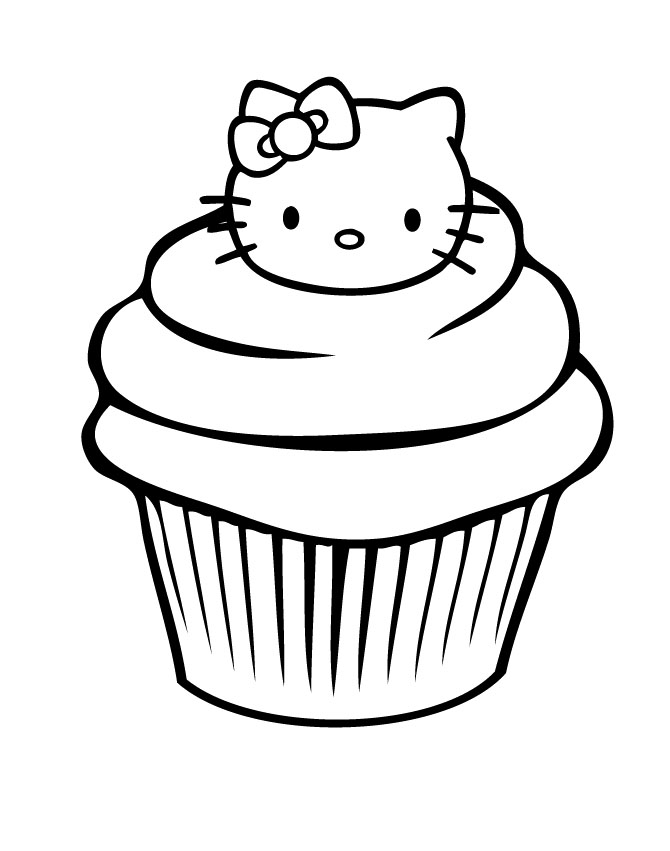 Muffins clipart cupcake hello kitty. Free line drawing download