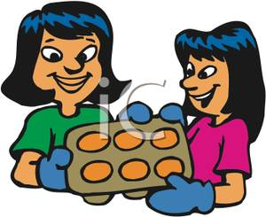 Muffins clipart mother. A and daughter making