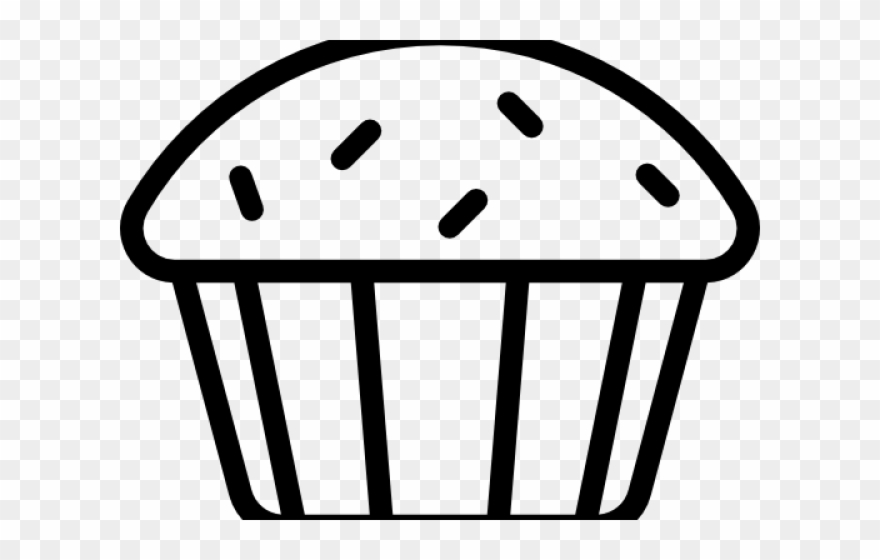 Muffin black and white. Muffins clipart outline