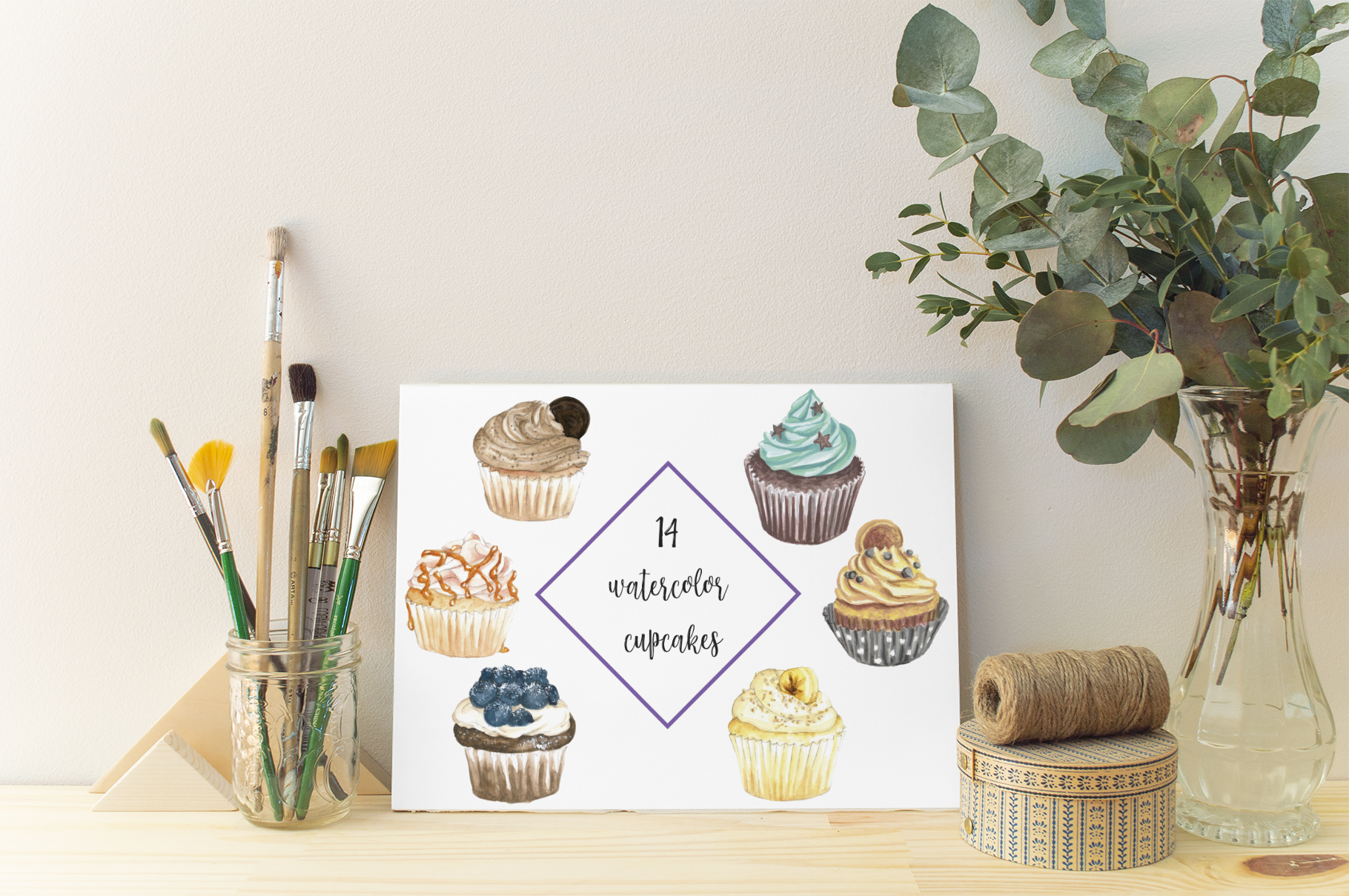 Watercolor cupcakes clip art. Muffins clipart sweet