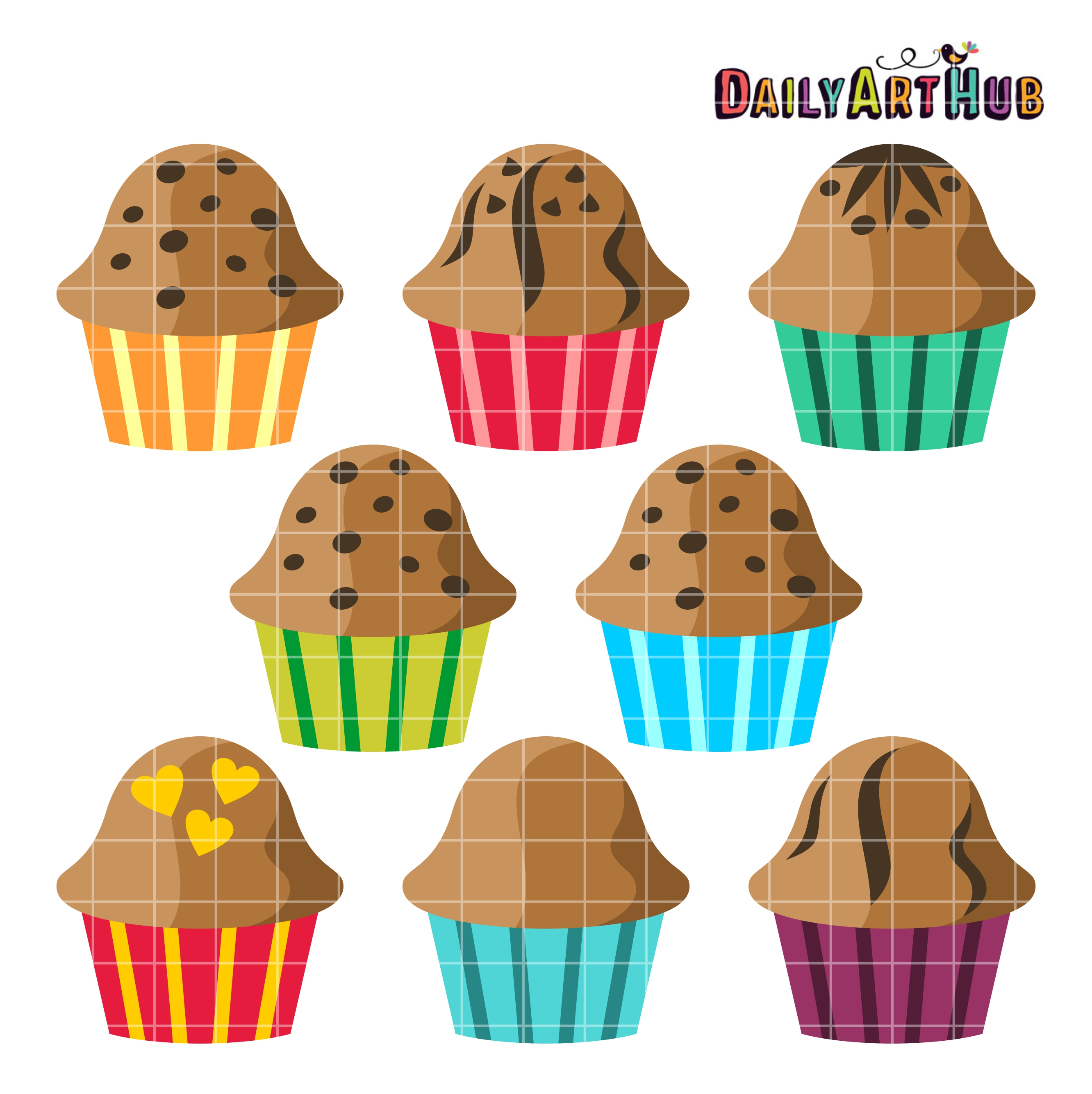 Clip art set daily. Muffins clipart