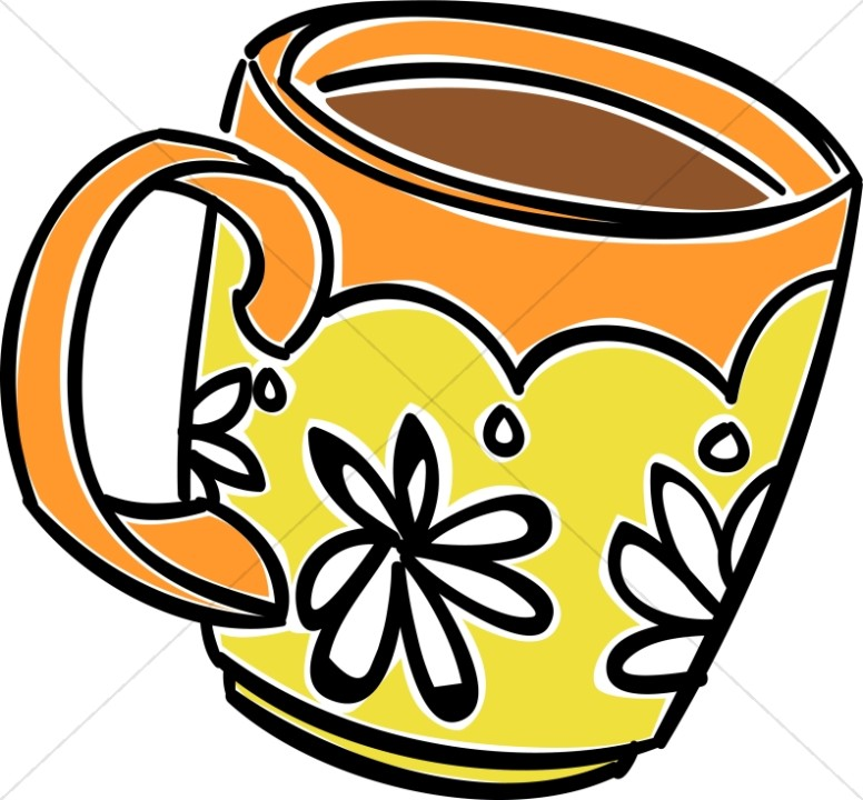 Fun daisy coffee hour. Mug clipart