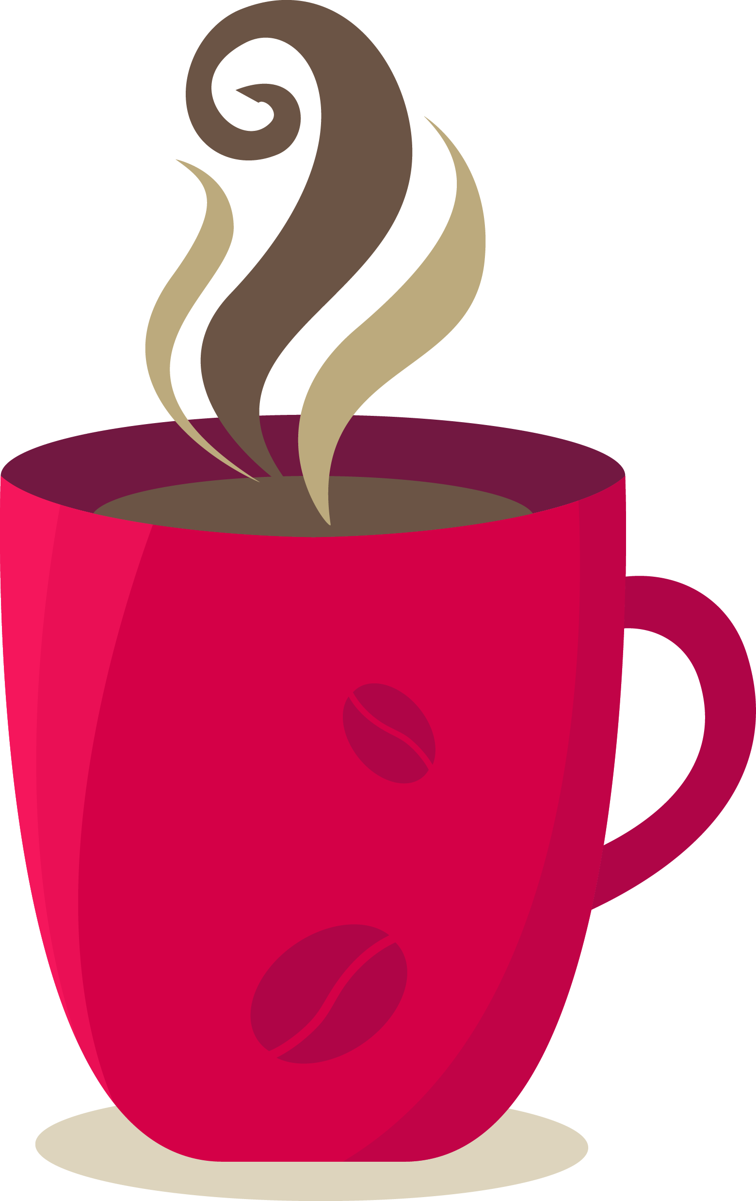 Cup cafe cartoon material. Mug clipart coffee bagel