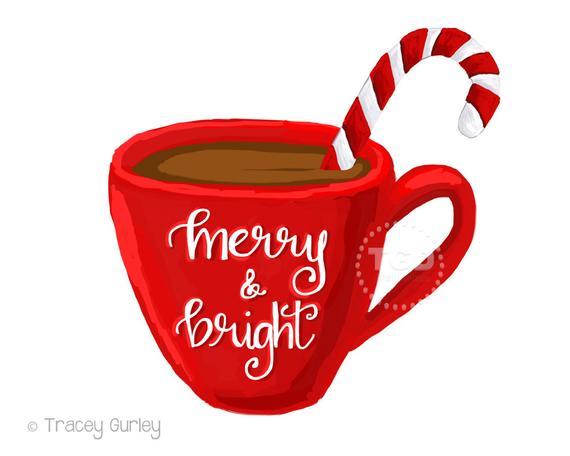 Merry and bright cocoa. Mug clipart hot coco