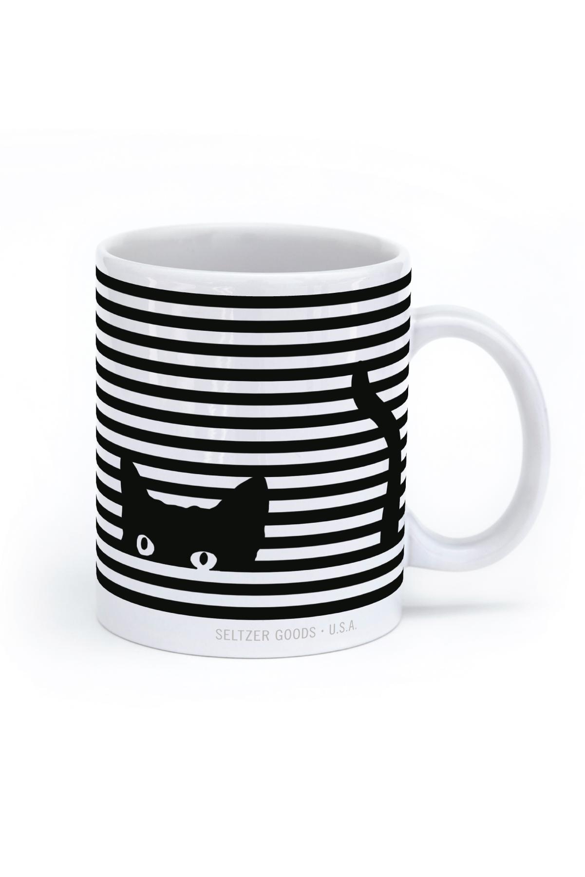 Seltzer goods cat stripes. Mug clipart striped