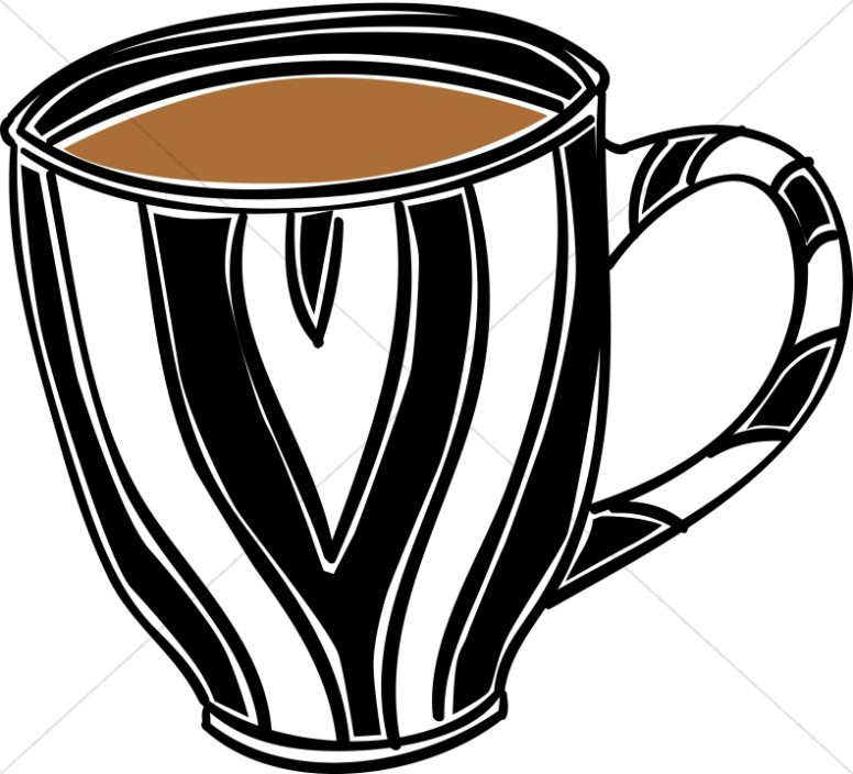 Mug clipart striped. Coffee hour