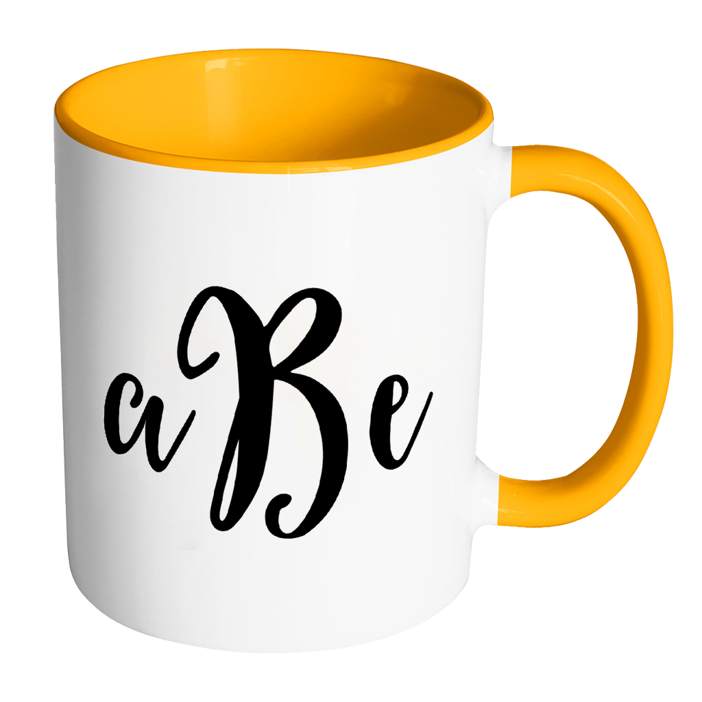 Custom monogram accent personalized. Mug clipart yellow cup