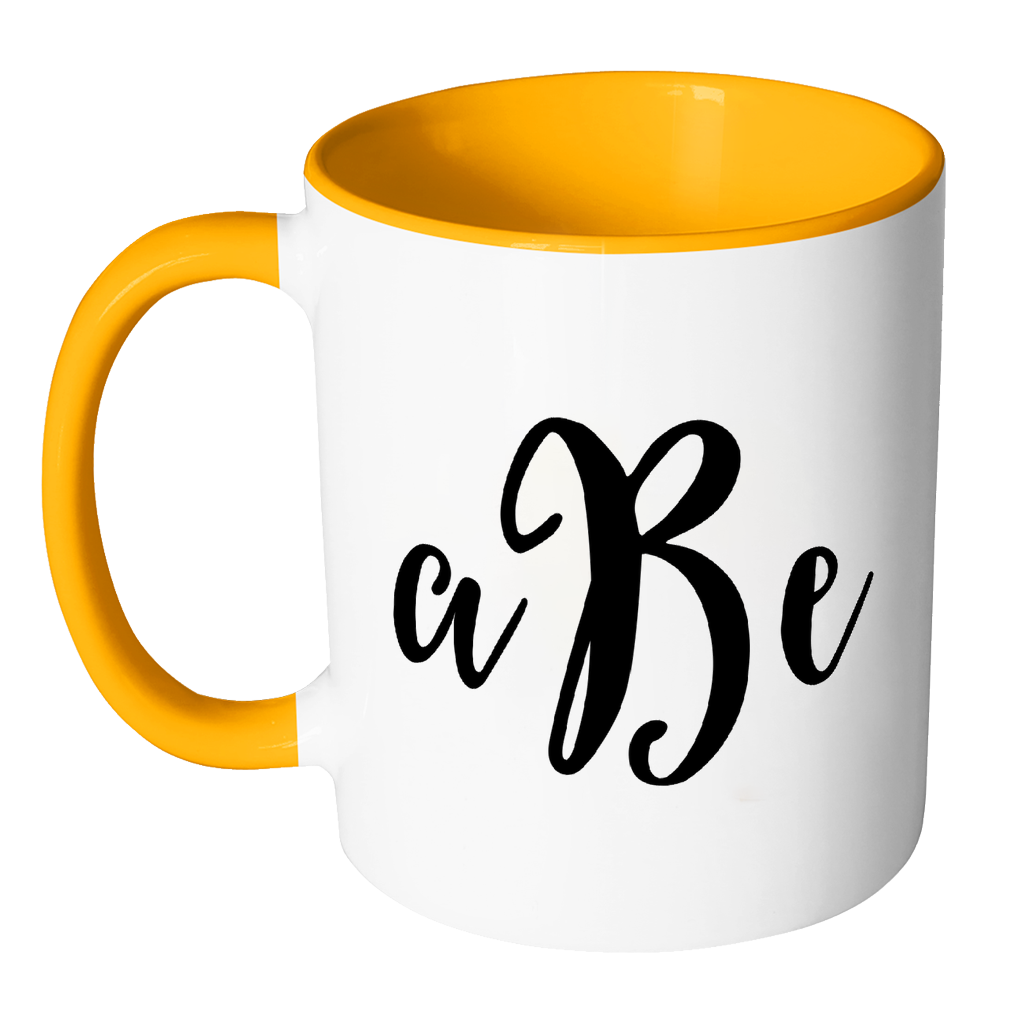 Mug clipart yellow cup. Custom monogram accent personalized