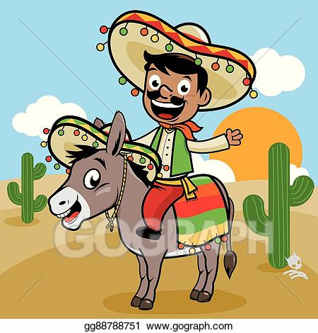 Mule clipart donkey mexican. Vector illustration man and