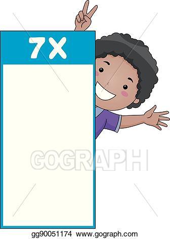 Vector illustration boy table. Multiplication clipart kid