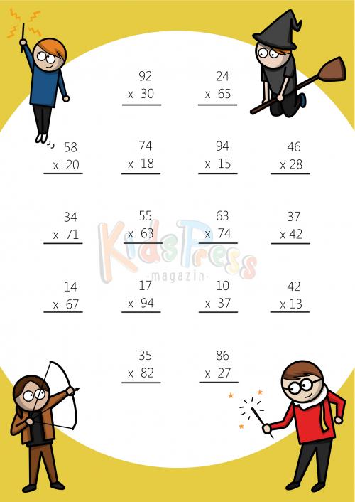 Multiplying digits by digit. Multiplication clipart math sheet