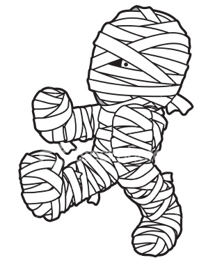 Mummy clipart black and white. Halloween clipartix