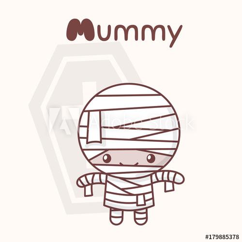 Mummy clipart chibi. Cute kawaii characters halloween