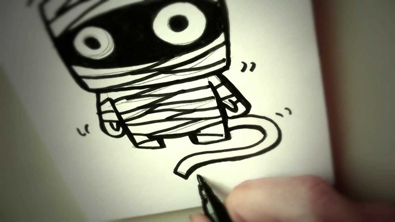 Mummy clipart easy draw. How to a cartoon