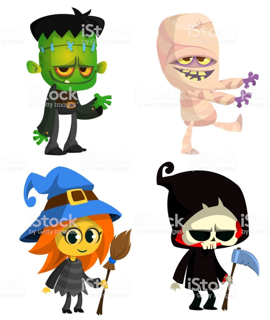 Set of characters vector. Mummy clipart halloween zombie