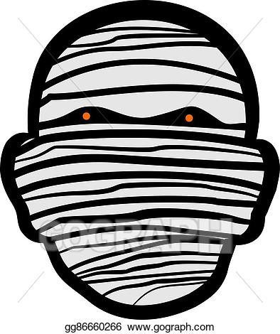 Mummy clipart mummy head. Vector face illustration gg