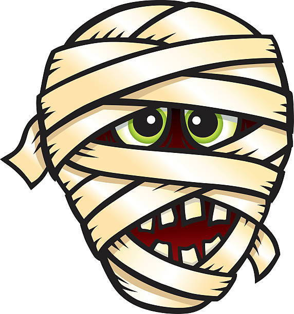 Pencil and in color. Mummy clipart mummy head
