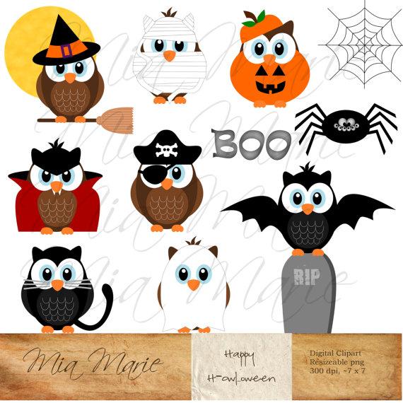 Halloween owls witch mummy. Vampire clipart pumpkin