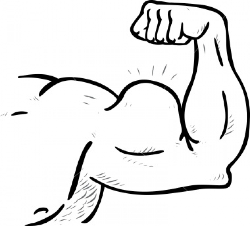 Muscle clipart. Of arm black and