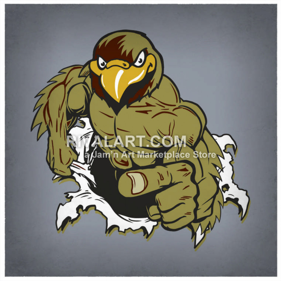 Wildcat clipart falcon. Tearing out of a
