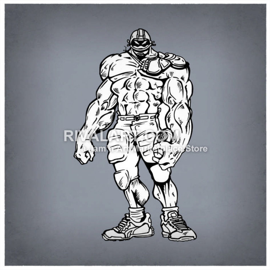 Muscle clipart football player. Big