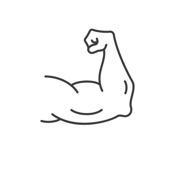 Muscle clipart stong. Strong muscles vector icon