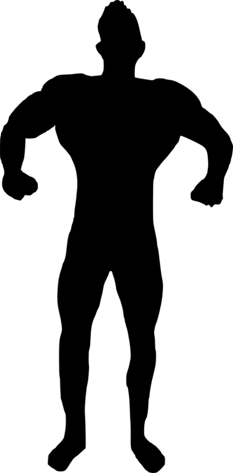 Man bodybuilder silhouette png. Muscle clipart transparent background