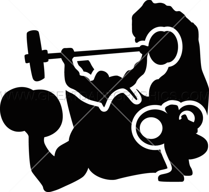 Muscles clipart weightlifting. Collage production ready artwork
