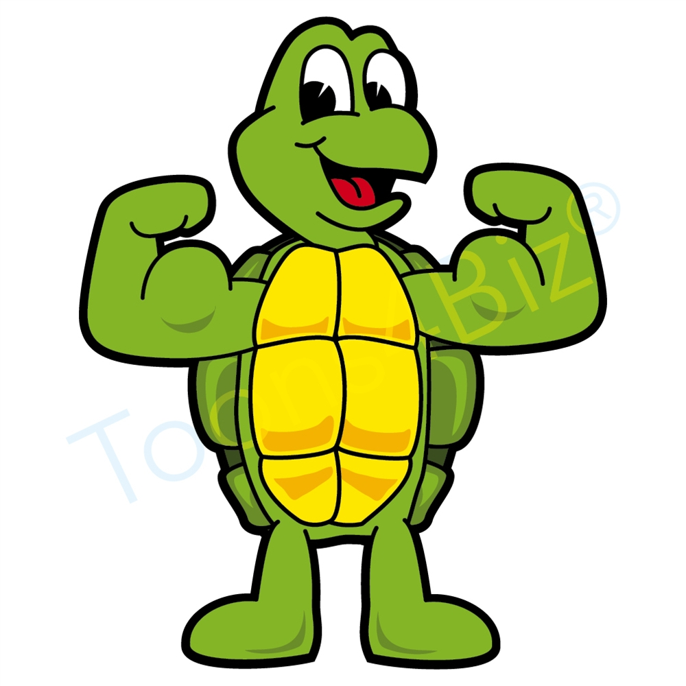 Muscles clipart. Turtle mascot flexing clip