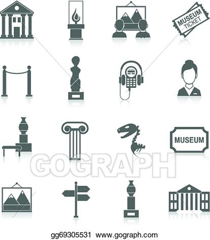 Vector icons black illustration. Museum clipart