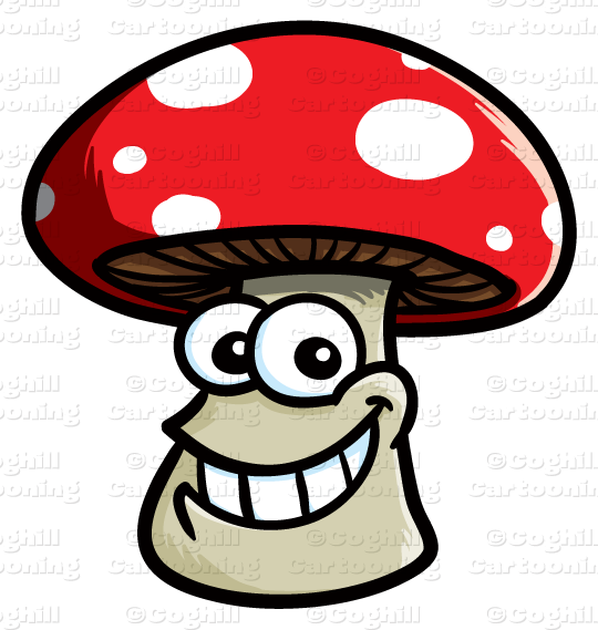 Cartoon smiling clip art. Mushroom clipart