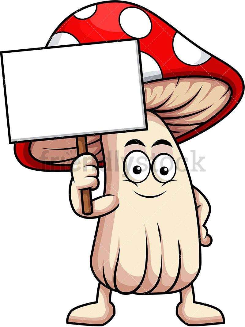 Mushrooms clipart cartoon character. Mushroom mascot holding empty