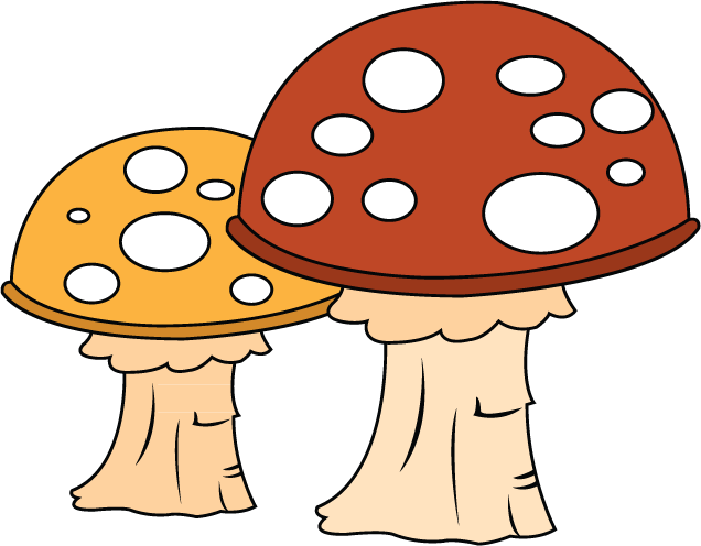Food cartoon line clip. Mushrooms clipart colored