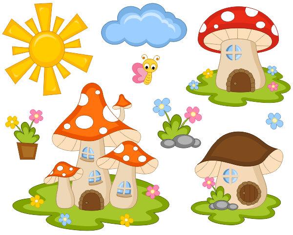Free mushroom home cliparts. Mushrooms clipart fairy village