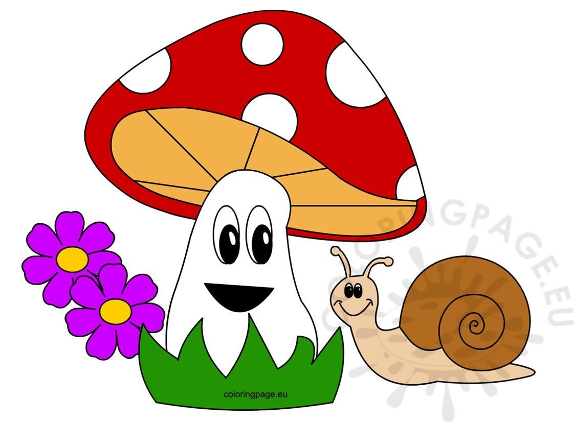 Snail with beautiful mushroom. Mushrooms clipart happy