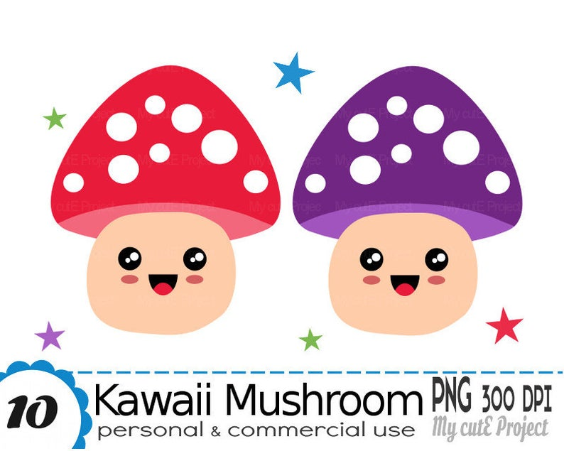 Mushroom clipart kawaii. Fall forest commercial use