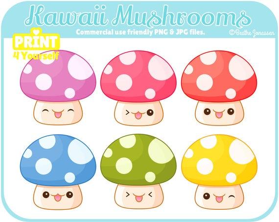 Instant download mushrooms woodland. Mushroom clipart kawaii